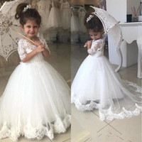 Wholesale blue tulle flower girl dress for sale - Group buy 2020 Lovely Flower Girl Dresses For Weddings Half Sleeve V Neck Lace Appliques Sweep Train Child Birthday Party Gown First Communion Dress