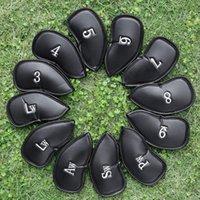 conjunto de cabeça de ferro venda por atacado-12PCS durável tampa da cabeça couro grosso PU para Golf Ferro Clube Putter Headcover Set 3-SW Universal Ferro Clube Headcovers