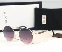 lentes de sol con lentes de flash al por mayor-Gafas de sol redondas de metal Gafas de diseñador Lente de cristal de destello dorado para hombres Gafas de sol de espejo para mujer Gafas de sol redondas unisex