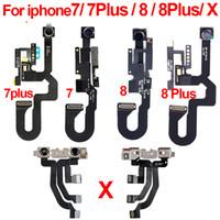 ingrosso sensore viso iphone-Originale per iPhone 7 7G 7Plus 8 8G 8Plus Plus X Fotocamera frontale Flex Cable Posteriore con modulo sensore di prossimità leggero