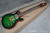 Wholesale green guitar hardware for sale - Group buy PRS Santana Private Stock Custom Green Busrt Figured Maple Top Electric Guitar Abalone Stripe Gold Hardware