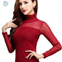 uzun kollu dantelli boyunbağı üstleri toptan satış-Kadınlar Cap Sleeve Bluz Gömlek Uzun Kollu Turtleneck Gömlek Kadın Elastik Dantel Çalışma Artı boyutu Kadın blusas için Mash Tops