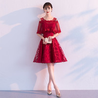 ingrosso ginocchia di abito rosso cinese-2019 vestito cinese qipao migliorato cheonsgam elegante abito da sera da sera al ginocchio abiti da sposa ricamo rosso