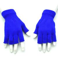 fingertasten großhandel-Fingerlose Handschuhe Unisex Wolle Taste Fingerlose Handschuhe Männer Frauen Einfarbig Finger Stretch Knit Fäustlinge Handgelenk Warme Halbe Fingerhandschuhe Geschenke