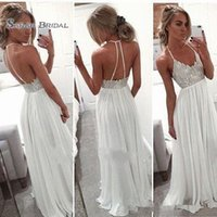 Wholesale backless line beach wedding dresses for sale - New Sexy Backless Halter Beach Wedding Dresses Lovely Lace Bodice Chiffon Skrit Summer Cheaper Sexy Bridal Gowns Backless