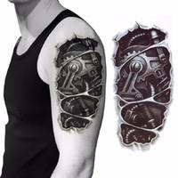 tatuajes corporales mano al por mayor-3D mecánico brazo de fijación tuerca etiqueta engomada del tatuaje para hombres brazo mano cuerpo warterproof tatuaje temporal tatuagem D19011203