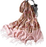 weiß gestickter schal großhandel-Gestickter Kaschmir-ähnlicher Schal mit dickerem und wärmerem Schal im Winter. Mode mit weißen Quasten bestickter Schal versandkostenfrei
