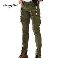 yeşil kot erkekler toptan satış-Ordu Yeşil Siyah Erkek Denim Biker Kargo Jeans Marka Erkekler Stretch Skinny Moto Kalem pantolon Pist Sıkıntılı Motosiklet Jeans