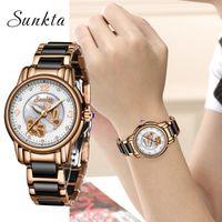 Wholesale top luxury watches brands list resale online - Sunkta2019 New Listing Rose Gold Women Watches Quartz Watch Ladies Top Brand Luxury Female Watch Girl Clock Relogio Feminino box SH190730
