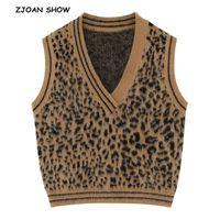 ingrosso maglione harajuku maglione-2019 New Spring Harajuku Animal Leopard Vest Senza maniche Maglione Retro Donna con scollo a V Gilet Maglieria Gilet Maglieria Caffè