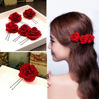 Wholesale red wedding bridesmaid accessories for sale - Group buy 6 Pack Buorsa Elegant Red Rose Bridal Hair Clips Wedding Women and Girls Hair Accessories Bridesmaids Headpiece