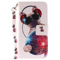 flip flip achat en gros de-Etui à rabat en cuir pour iphone 6 6s 7 8 plus x xs xr max chien peint avec fente pour carte de crédit portefeuille