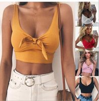 Wholesale women s pink tank top resale online - Womens Sexy Top Sexy Bow Tie Short Navel Camisole for Female with Colors Asian Size S L