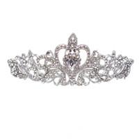ücretsiz gönderim bedeni taçları toptan satış-Yeni Gelin Düğün Kristal Rhinestone Saç Bandı Prenses Taç Tarak Tiara Balo Pageant 1 Adet Ücretsiz Kargo
