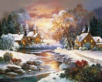 Wholesale modern art christmas canvas resale online - Winter Snow at Dusk Landscape DIY Digital Painting By Numbers Modern Wall Art Canvas Painting Christmas Gift Home Decor x50cm