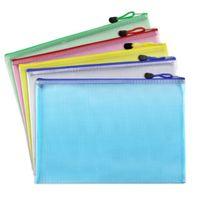 papel impermeable a4 al por mayor-1 unids A3 A4 A5 A6 Plástico A Prueba de agua Cremallera Carpeta de Archivos Libro Lápiz Bolso de la Caja Bolsa de Archivo bolsas de documentos de oficina estudiante