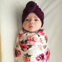 Wholesale crochet baby knotted hat resale online - new Born baby Infant products children s headscarf hat baby solid color knotted India headgear cross border exclusive