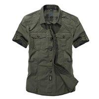 ordu tarzı elbise toptan satış-Gündelik elbise gömlek erkekler slim fit stil ordu yeşil erkek boys için haki erkek kısa kollu pamuk tasarımcı Nefes Marka