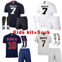мальчиков молодежные носки оптовых-Детский футбол Джерси наборы с носками maillots PSG 2019 униформа Paris Saint MBAPPE 7 Germain 18 19 MBAPPE maillot de foot boys youth kit