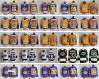 хоккейные трикотажные короли оптовых-LA Kings Jerseys Лос-Анджелес Хоккей Ретро 99 Уэйн Гретцки 30 Рогатьен Вачон 33 Марти МакСорли 16 Марсель Дионн 20 Люк Робитей