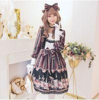 женские платья западного стиля оптовых-Лолита платье новое прибытие женщины Лето Осень готический Винтаж японский сладкий девушка западный стиль мило-line с длинным рукавом платья принцессы