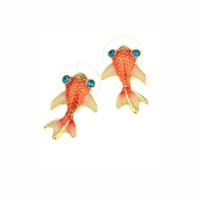 canlı takılar toptan satış-Sevimli Canlı Tiny Goldfish Saplama Küpe Kadınlar Için Moda Takı