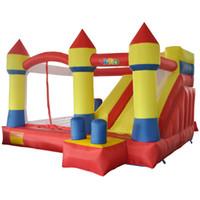 прыгающие замки для оптовых-Двор домашнего использования надувной замок надувной замок прыжки замок отказов дом комбо слайд Moonwak батут игрушки с воздуходувкой