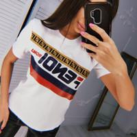 schwarze kurzarm-taille großhandel-F Brief Frauen Shirts 2 Farben Rundhals Kurzarm Top Tees Marke Brief gedruckt T-Shirt LJJO6911