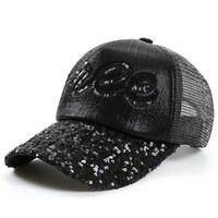lentejuelas reflectantes al por mayor-2019 Color Sólido Moda Ajustable Negro Caps Mujer Reflexivo Ojos de Lentejuelas Liso Curvo Visera Sombrero de béisbol Gorra