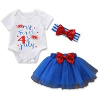 Wholesale new headband style resale online - New Born Rompers Sets Short Sleeve Letter Print Three Piece Suit Mesh Skirts American Flag Independence National Day Striped Bow Headband