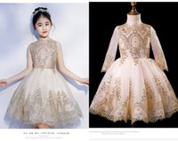 Wholesale mini wedding dresses for girls resale online - Bling Gold Lace Applique Short Flower Girls Dresses For Wedding Party Toddler Little Girls Long Sleeves Sequins First Communion Dress