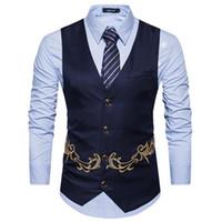 высокие платья вышивки шеи оптовых-Suit vest men's slim V-neck  embroidery business gentleman groomsman dress vest high quality suit men
