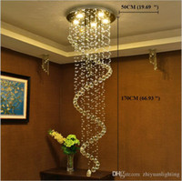 lámpara colgante en espiral al por mayor-Candelabros de cristal modernos LED Lámparas colgantes de escalera accesorios espiral interior Luces colgantes Lámpara de iluminación decorativa para escaleras de pasillo de hotel
