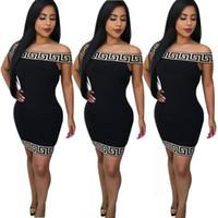perolização de diamante vestido preto venda por atacado-Venda quente europeu e modelos de explosão das mulheres americanas novo jacquard sexy top tubo elástico vestido apertado