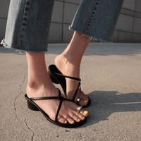 sandalias de trapeador al por mayor-Magic2019 Han Xia System Ins Street Time Crossing Fasciola Grueso con sandalias Joker con zapatillas de mujer Toe Mop