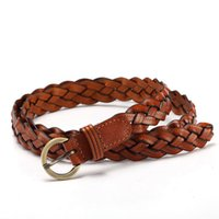 Wholesale braided rope belt women resale online - New Fashion Womens Belt Brief Knitted Candy Colors Hamp Rope Braid Belt Female For Dress High Quality Casual