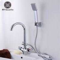 bacia de faucet termostática venda por atacado-Termostática Banheiro torneira da cozinha único punho Inteligente anti-queimadura mão do chuveiro lavatório Cabelo torneiras misturadoras