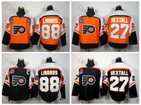 ropa india americana al por mayor-1997 Stanley Cup Philadelphia Flyers Vintage # 88 Eric Lindros Jerseys Hombre # 27 Ron Hextall Jerseys de hockey de calidad superior cosido C Patch
