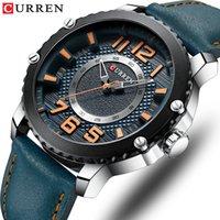 relógio de estilo único venda por atacado-Curren casual relógio de couro para homens estilo de negócios de quartzo relógios de pulso new relojes hombre design exclusivo relógio masculino relógios