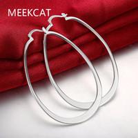 Wholesale flat hoop earrings resale online - Flat U Creole big Circle hoop earrings stamped silver plated orecchini Fashion New Jewelry Brincos de Prata
