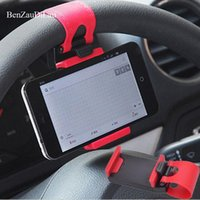 Wholesale steering phone holder for sale - Group buy Mini Car Holder Steering Wheel Holder Mount Cell Phone Mobile Universal For iPhone GPS MP4 Clip Buckle