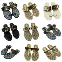 verstopft sandalen schuhe großhandel-Strandkorken-Hausschuhe der Sommerfrauen Luxus beiläufige Sandalen Pailletten gleiten Doppelschnalle Clogs Frauen Slip auf Flip Flops Flats Schuh