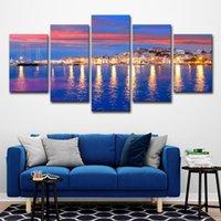 imagem da ilha venda por atacado-5 Pcs Bela Ilha de Ibiza Eivissa Colorido Noite Vista Mar Wall Art HD Impressão Pintura Da Lona Moda Pendurado Fotos