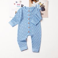 Wholesale overall for toddlers boy resale online - Baby Boys Girls Rompers Long Sleeve Knitting Pattern Overalls For Newborns Jumpsuits One Piece Autumn Toddler Infant Clothes Y19061201