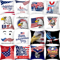 Wholesale sofa seat cushions for sale - Group buy 27styles American Independence Day Pillow Case Sofa Cushion Cover Home Decor Seat Pillowcase America Flag Throw Pillow Cover cm FFA2067