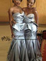 encaje de imperio sexy al por mayor-2019 Sirena de encaje sexy africana Vestidos de dama de honor cariño Empire Tiered Ruffle tren de barrido Vestidos de dama de honor Vestidos de invitados de boda