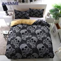 Wholesale skulls bedding resale online - AHSNME Black Skull Duvet Cover Set Horrible Skeleton Bedding Set Breathable d Bedclothes Europe American Size King Twin