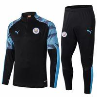 abrigo de tren al por mayor-2019-20 Manchester City chaqueta larga de la manga Sane Jesús Rodrigo capa pre-partido chándales AGUERO la camisa del jersey de fútbol entrenamiento de fútbol STERLING