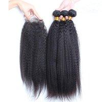 i̇talyan saç örgüsü toptan satış-Malezya Sapıkça Düz İnsan Saç Kapatma ile 3 Demetleri İtalyan Kaba Yaki Bakire Saç Atkı 4x4 Ön Dantel Kapatma ile 4 Adet Lot