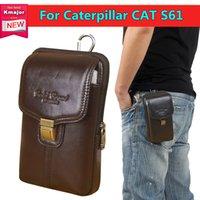 bolsa de teléfono gato al por mayor-Caja del teléfono celular de cuero genuino con cremallera bolsa cinturón Clip de la cintura cubierta del monedero para Caterpillar CAT S61 5.2